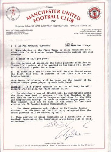 Pic is this really roy keane s first man united contract for Football contract template