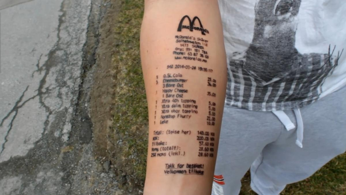 What A Tat Tool… Norwegian Teen Who Got McDonald's Tattoo