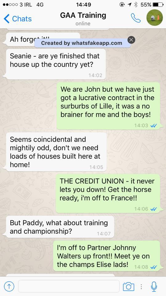 PIC: GAA club perfectly predict every WhatsApp group chat
