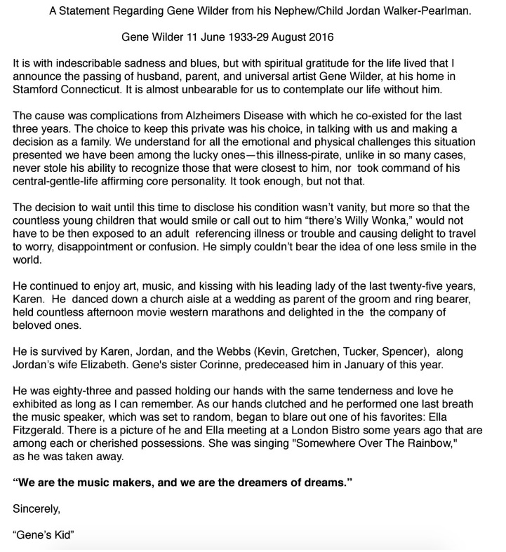 Gene Wilder's Family Release An Incredibly Moving ...