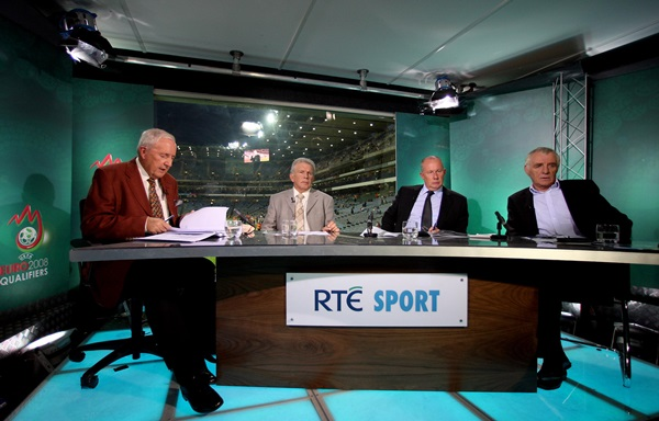 A view of the studio with from L-R: Bill O'Herlihy, Johnny Giles, Liam Brady and Eamon Dunphy 17/10/2007