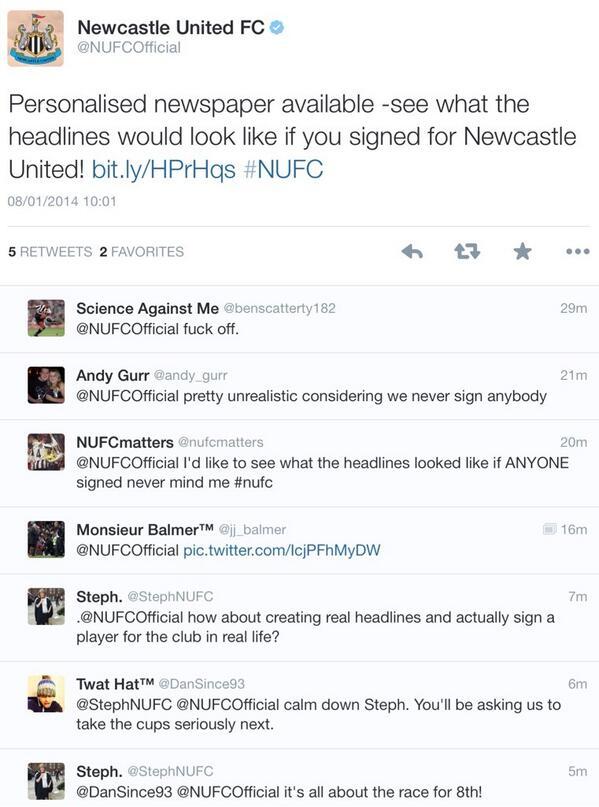 NUFC tweet