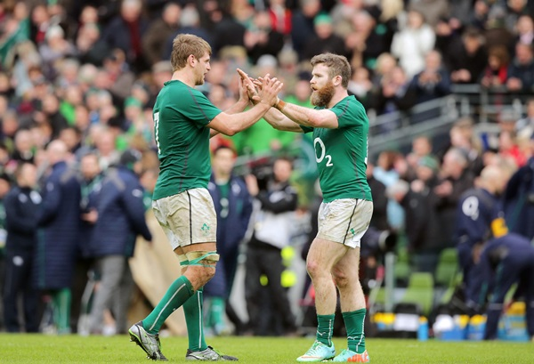 Chris Henry and Gordon D'Arcy celebrate after the game 8/2/2014