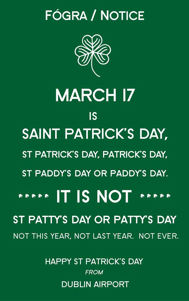 Dublin Airport has a great St. Patrick's Day message for ...
