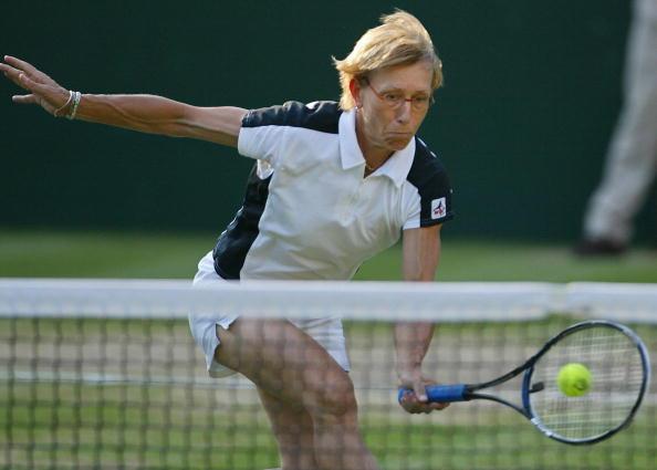 Martina Navratilova of the US hits a bal