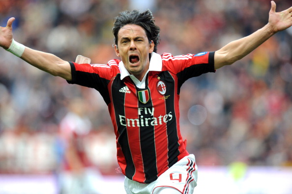 Filippo Inzaghi celebrates scoring durin