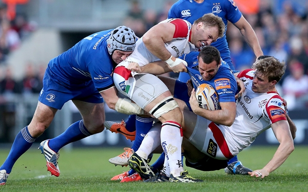 Dave Kearney supported by Shane Jennings is tackled by Andrew Trimble and Roger Wilson 2/5/2014
