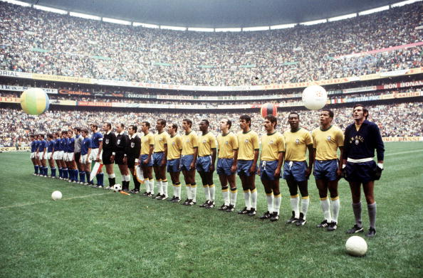 Football. 1970 World Cup Final. Mexico City, Mexico. 21st June, 1970. Brazil 4 v Italy 1. The two teams line up in the Azteca Stadium before the match.