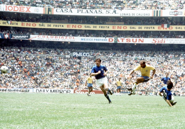 World Cup Final 1970 Mexico City, Mexico. 21st June, 1970. Brazil 4 v Italy 1. Brazil's Gerson beats Italian players from outside the penalty area to put his side 2-1 ahead in the World Cup Final.