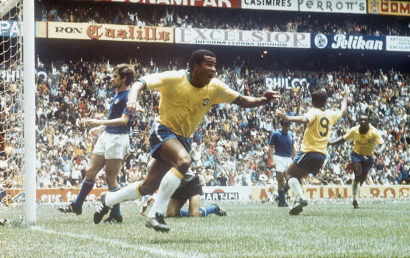 1970 World Cup Final Azteca Stadium, Mexico. 21st June, 1970. Brazil 4 v Italy 1. Brazil's Jairzinho celebrates after walking the ball into the net for his side's third goal, making him the first player to score a goal in every game.