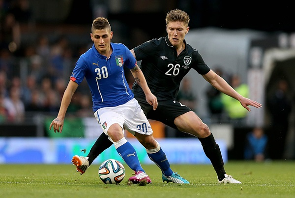 Marco Veratti with Jeff Hendrick 31/5/2014