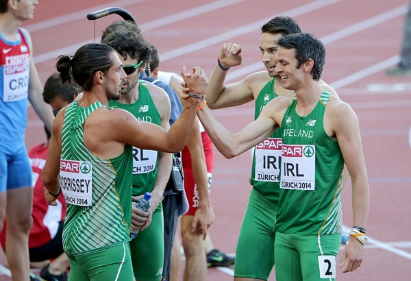 Richard Morrisey, Brian Murphy, Brian Gregan and Thomas Barr celebrate after they set a new National Record 16/8/2014