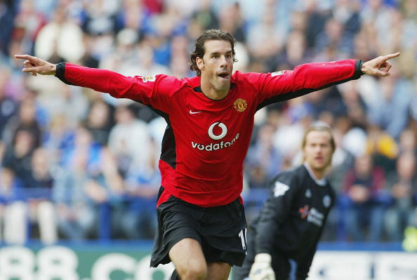 Ruud Van Nistelrooy of United celebrates scoring