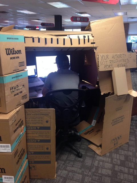 Pic Workmates Annoying You In The Office This Guys Desk Fort
