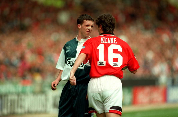 Sport. Football. pic: 11th May 1996. FA. Cup Final at Wembley. Liverpool 0. v Manchester United 1. Liverpool's Robbie Fowler in an angry exchange with Manchester United's Roy Keane.