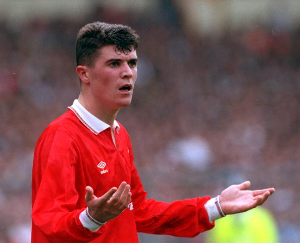 Football. 1991 FA Cup Final. Wembley. 18th May, 1991. Tottenham Hotspur 2 v Nottingham Forest 1. Nottingham Forest's Roy Keane protests his innocence.