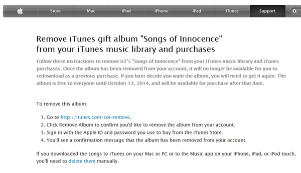 Apple create a help page instructing iTunes users how to