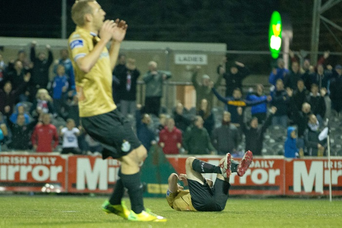Shamrock Rovers's Ryan Brennan lies on the ground after missing a penalty 13/10/2014