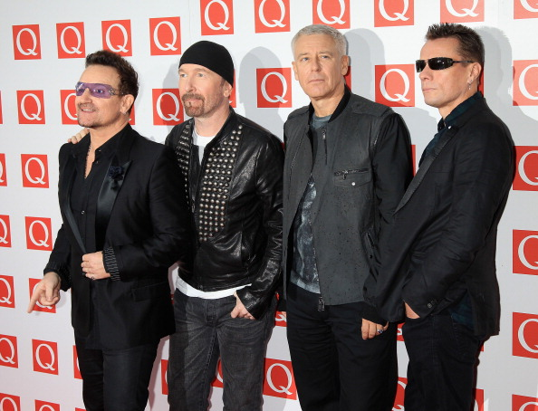 LONDON, ENGLAND - OCTOBER 24:  The Edge, Bono, Adam Clayton, Larry Mullen Jr of U2 attends the Q awards at The Grosvenor House Hotel on October 24, 2011 in London, England.  (Photo by Chris Jackson/Getty Images)