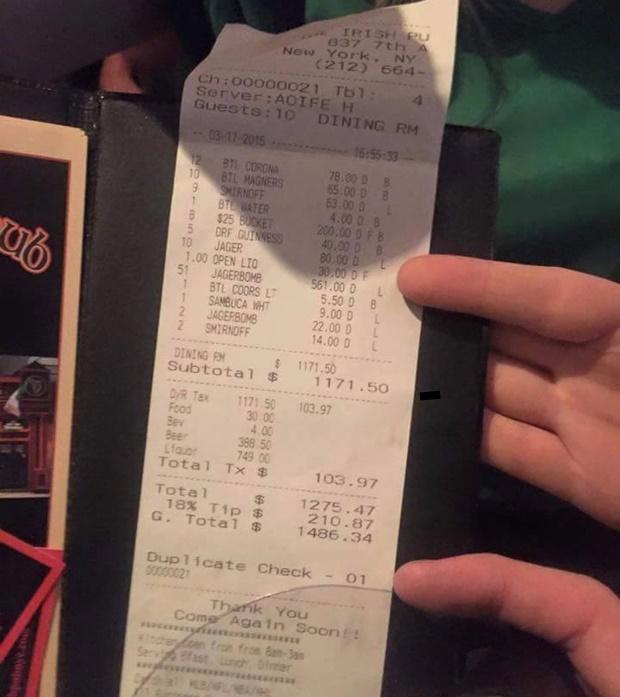 Bar receipt NYC