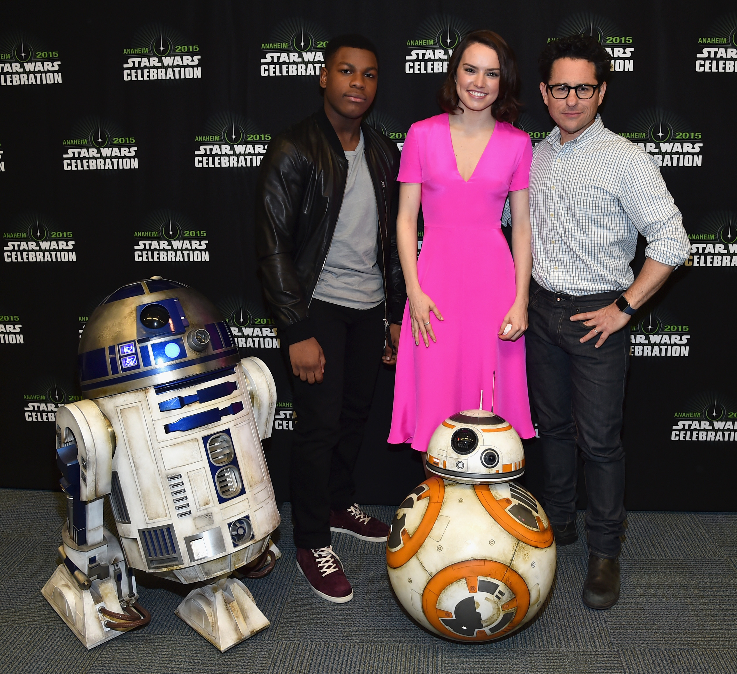 ANAHEIM, CA - APRIL 16:  (L-R) Actors John Boyega and Daisy Ridley and director J.J. Abrams attend Star Wars Celebration 2015 on April 16, 2015 in Anaheim, California.  (Photo by Alberto E. Rodriguez/Getty Images for Disney)