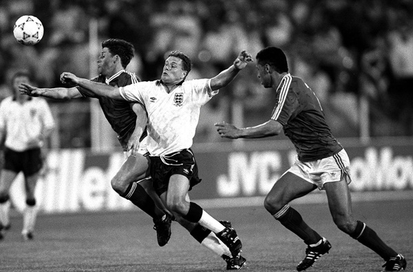 Andy Townsend and Paul McGrath and Paul Gascoigne 1990