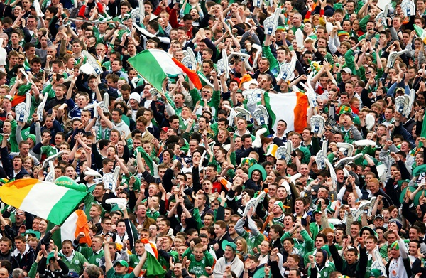 Irish Fans waving their flags