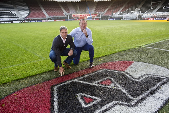 John van den Brom during his first day at work for his new club AZ Alkmaar where he takes over the job from Marco van Basten (L) who will be his assistant trainer on September 30, 2014 at the AFAS stadium in Alkmaar, The Netherlands. (Photo by VI Images via Getty Images)