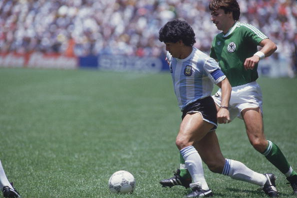 MEXICO - JUNE 29:  Soccer: World Cup final, ARG Diego Maradona (10) in action vs FRG, Mexico City, MEX 6/29/1986  (Photo by George Tiedemann/Sports Illustrated/Getty Images)  (SetNumber: X33208 TK19 R10 F5)