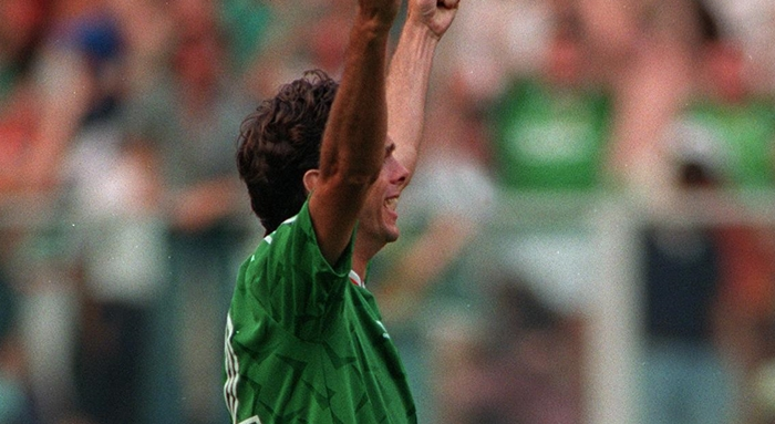 World Cup 1990 David O'Leary of the Republic of Ireland celebrates after he scores the penalty against Romania Mandatory Credit ©INPHO/Billy Stickland