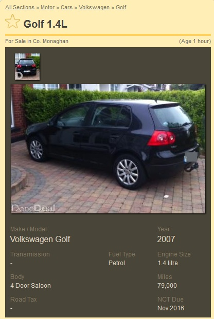 Pic A Monaghan Lad Is Selling His Car On Donedeal Because He S Been