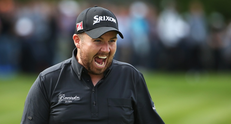 BMW PGA Championship 25/5/2014 Shane Lowry of Ireland celebrates holing a birdie putt on the 18th green Mandatory Credit ©INPHO/Getty Images