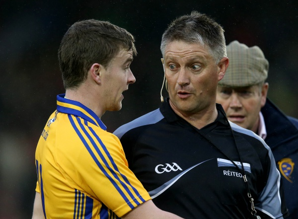 GAA Hurling All Ireland Senior Championship Round 2, Semple Stadium, Thurles, Co. Tipperary 11/7/2015 Clare vs Cork Clare's Tony Kelly argues with Referee Barry Kelly after the game  Mandatory Credit ©INPHO/Ryan Byrne