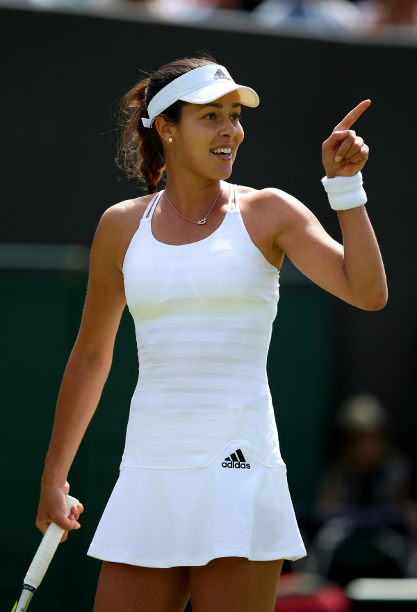 LONDON, ENGLAND - JUNE 29:  Ana Ivanovic of Serbia in action in her Ladies's Singles first round match against Yi-Fan Xu of China during day one of the Wimbledon Lawn Tennis Championships at the All England Lawn Tennis and Croquet Club on June 29, 2015 in London, England.  (Photo by Ian Walton/Getty Images)