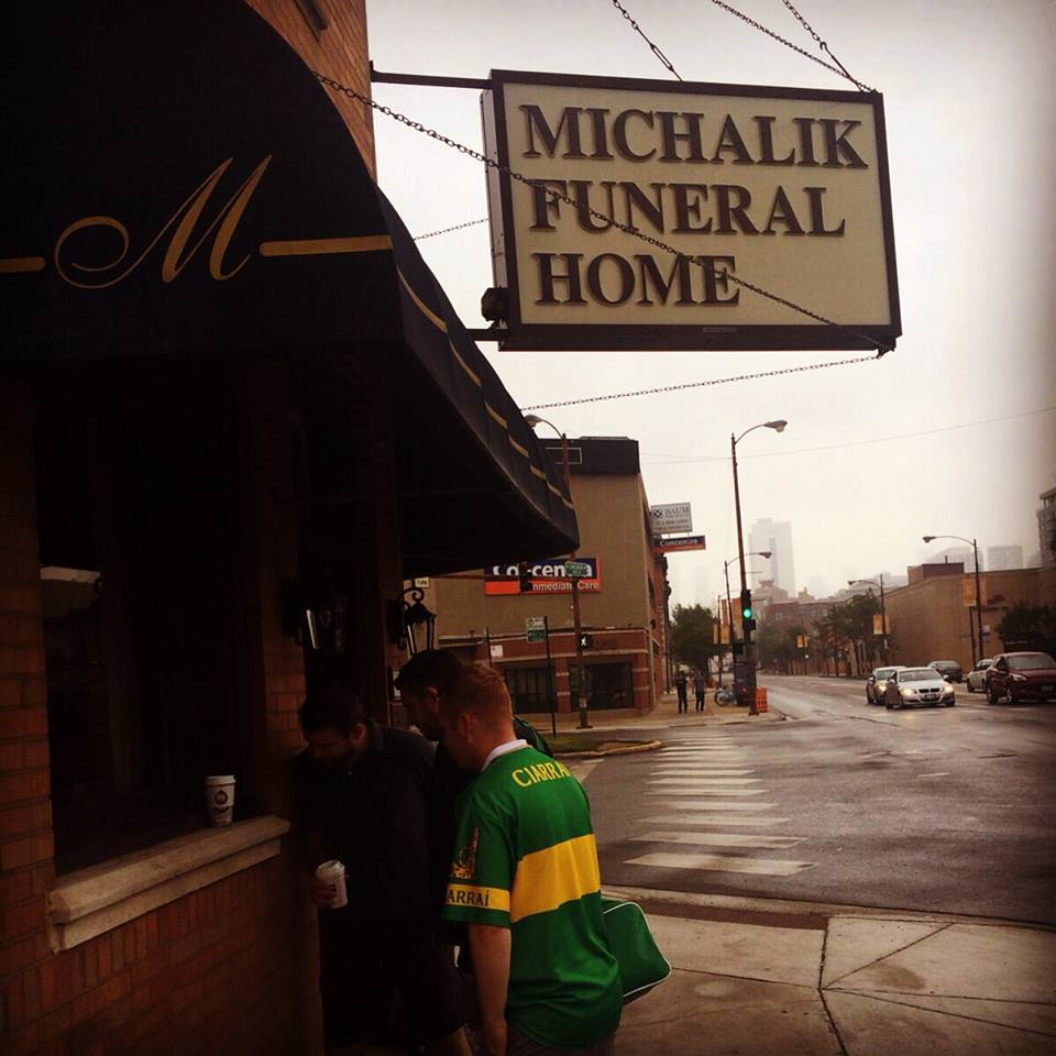 PIC: Kerry lads in Chicago use Wi-Fi from a funeral home to