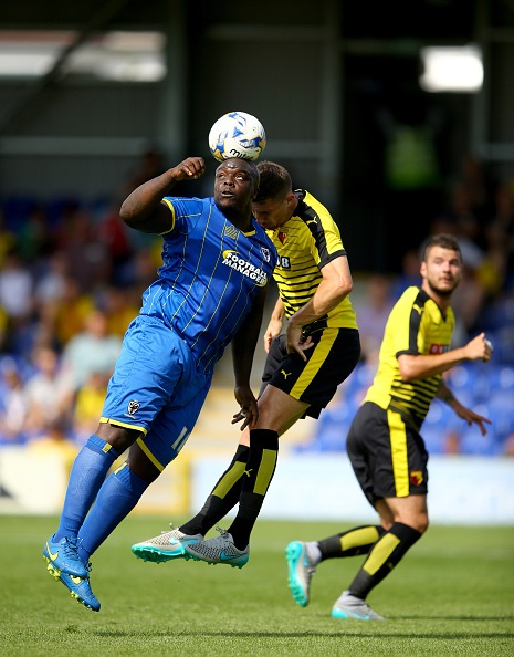 during the Pre Season Friendly match between AFC Wimbledon and Watford at The Cherry Red Records Stadium on July 11, 2015 in Kingston upon Thames, England.