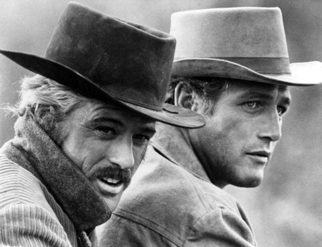 "OCTOBER 24: Butch Cassidy (Paul Newman) and the Sundance Kid (Robert Redford) in a scene from the movie ""Butch Casssidy And The Sundance Kid"" which was released on October 24, 1969. (Photo by Michael Ochs Archives/Getty Images)"