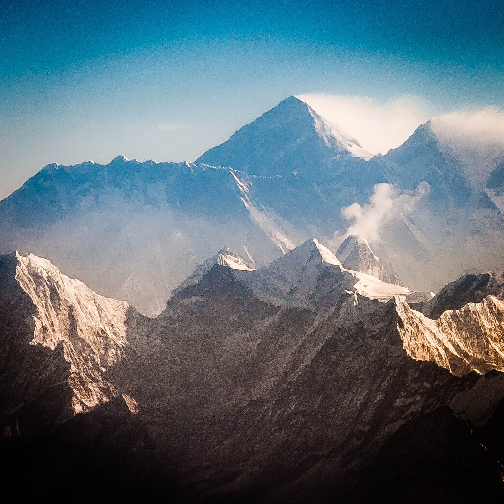 Mt. Everest, Lohtse and Nupse in the early morning