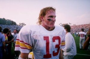 17 Nov 1990: Quarterback Todd Marinovich of the USC Trojans celebrates after the Trojans 45-42 victory over the UCLA Bruins at the Rose Bowl in Pasadena, California. Mandatory Credit: Stephen Wade /Allsport