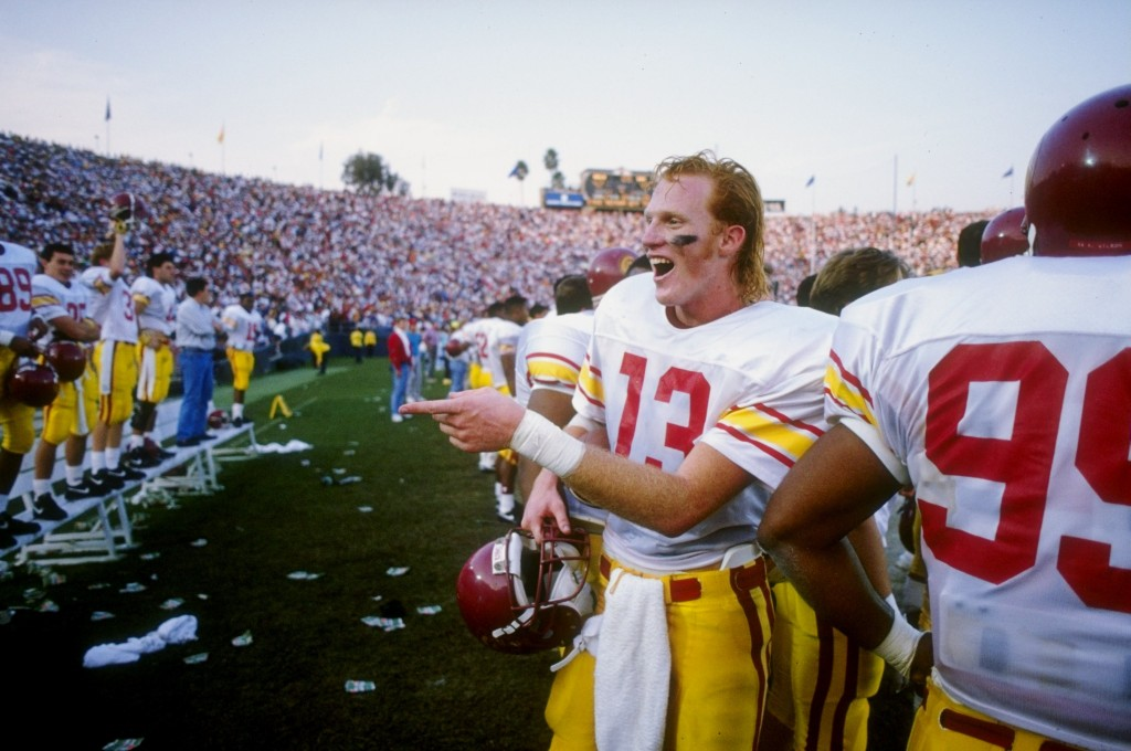 17 Nov 1990: Quarterback Todd Marinovich of the USC Trojans celebrates during the Trojans 45-42 victory over the UCLA Bruins at the Rose Bowl in Pasadena, California. Mandatory Credit: Stephen Wade /Allsport