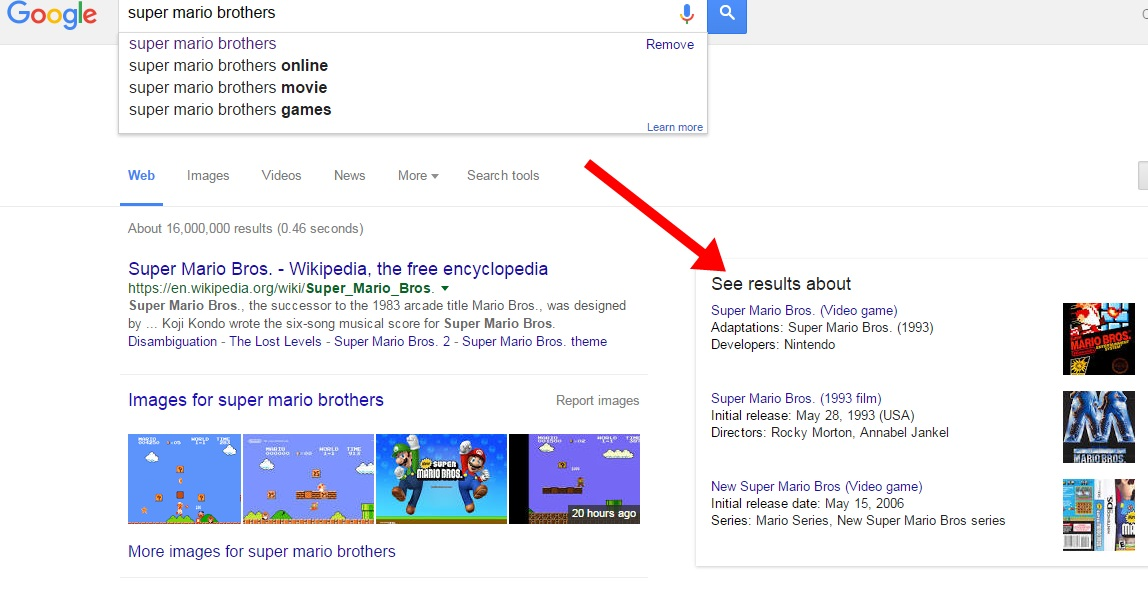 If you type Super Mario Brothers into Google today, you're in for an