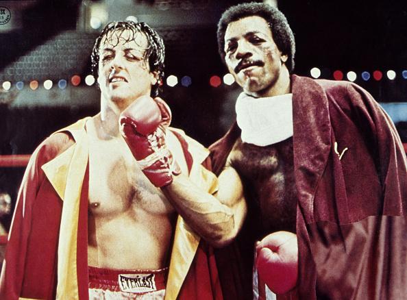 (GERMANY OUT) Stallone, Sylvester *06.07.1946- Schauspieler, Regisseur, USA - mit Carl Weathers (r.) als 'Apollo Creed' in dem Film 'Rocky', USA - 1976 (Photo by Röhnert/ullstein bild via Getty Images)