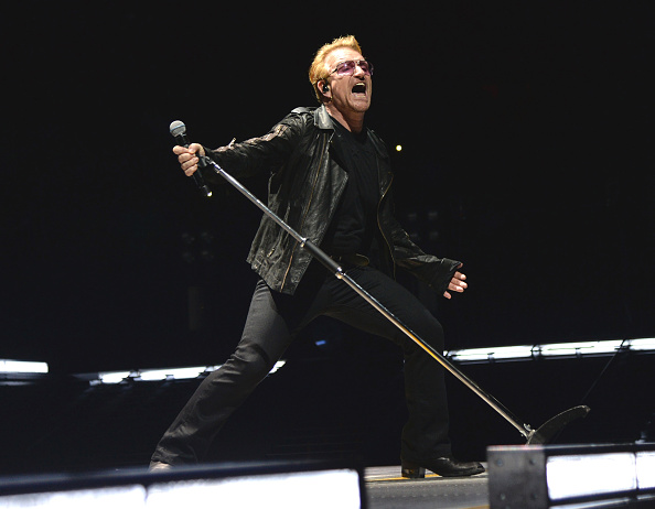 "performs onstage during U2's ""iNNOCENCE + eXPERIENCE"" tour at Madison Square Garden on July 26, 2015 in New York City."