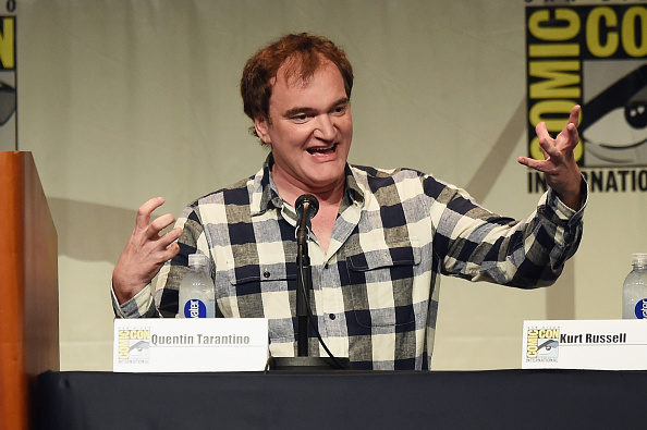"speaks onstage at Quentin Tarantino's ""The Hateful Eight"" panel during Comic-Con International 2015 at the San Diego Convention Center on July 11, 2015 in San Diego, California."
