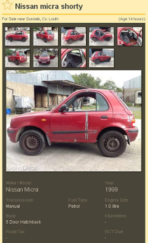 The modified Nissan Micra 'Shorty' for sale on DoneDeal is