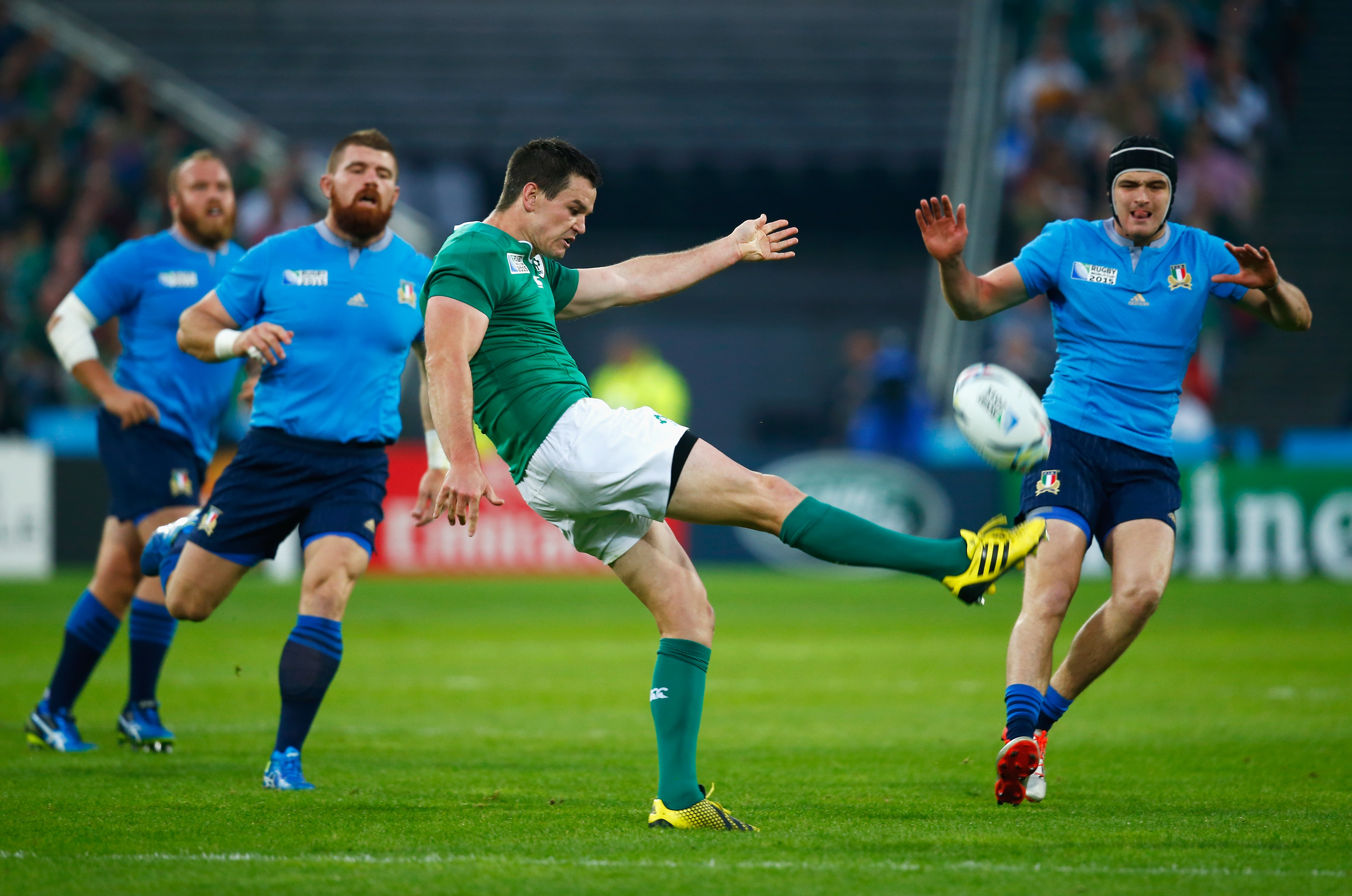 LONDON, ENGLAND - OCTOBER 04: Jonathan Sexton of Ireland kicks the ball during the 2015 Rugby World Cup Pool D match between Ireland and Italy at the Olympic Stadium on October 4, 2015 in London, United Kingdom.  (Photo by Mike Hewitt/Getty Images)