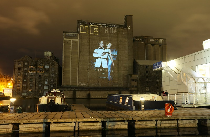 NO REPRO FEE / Press Use SPECTRE projected on Bolands Mills tonight ahead of its Oct 26th release! PICTURE CREDIT: Bryan Brophy/1IMAGE 1IMAGE PHOTOGRAPHY Studio: +353 1 493 9947 Mob: +353 87 246 9221