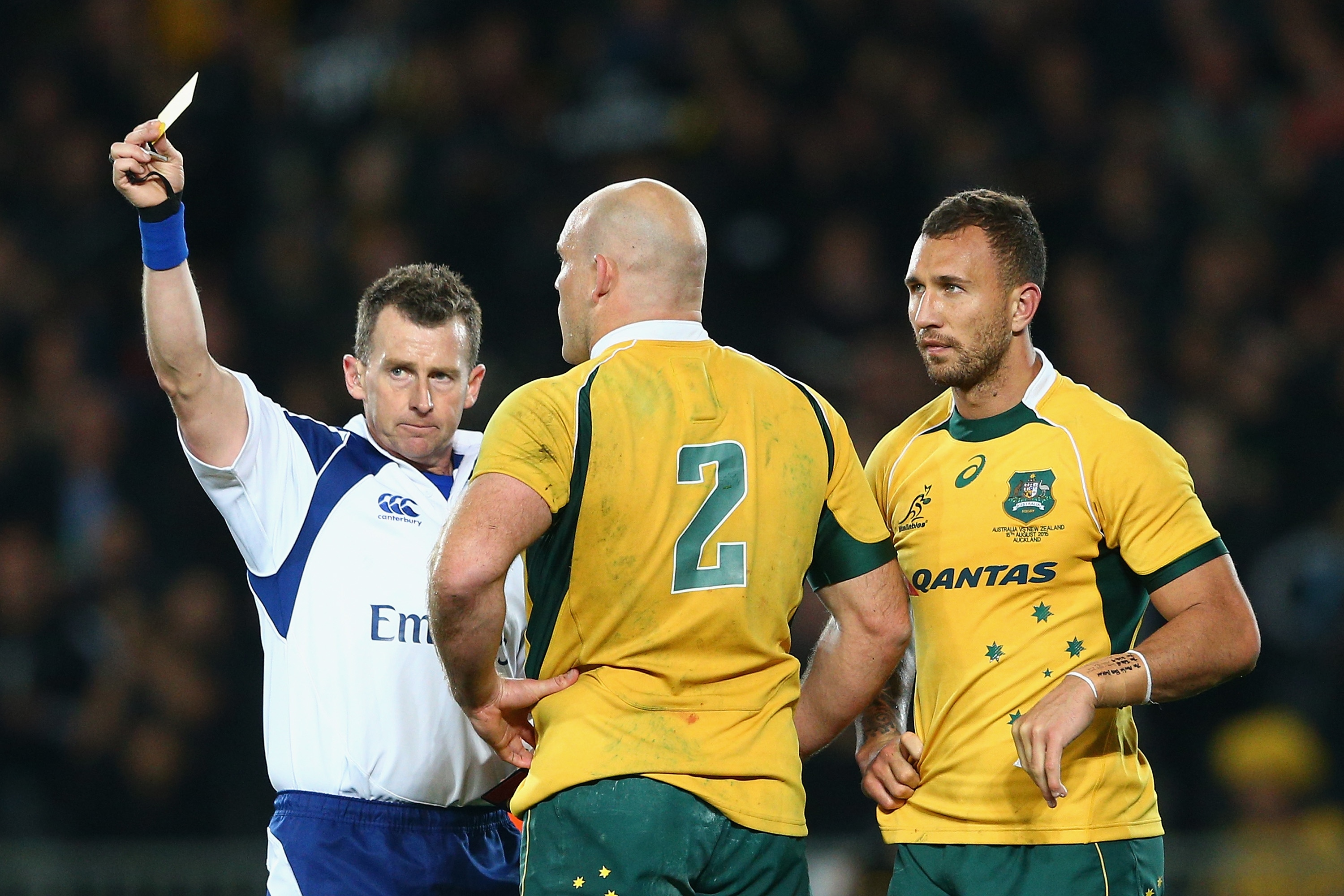 AUCKLAND, NEW ZEALAND - AUGUST 15: Referee Nigel Owens sends off Quade Cooper of the Wallabies with a yellow card during The Rugby Championship, Bledisloe Cup match between the New Zealand All Blacks and the Australian Wallabies at Eden Park on August 15, 2015 in Auckland, New Zealand. (Photo by Cameron Spencer/Getty Images)
