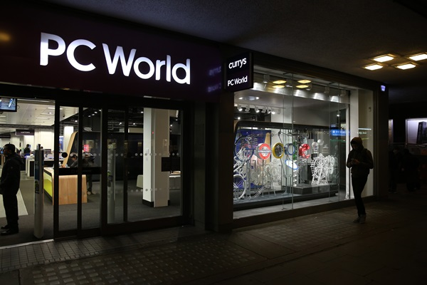 A display represents the Google name and logo in the store front of a branch of PC World on March 16, 2015 in London, England. Google's new shop is selling Chromebook laptops, Android phones, tablets and Chromecast TV devices.