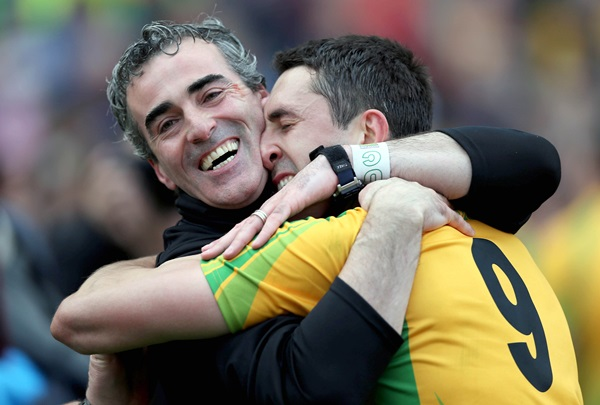 GAA Football All Ireland Senior Championship Final, Croke Park, Dublin 23/9/2012 Donegal vs Mayo Donegal manager Jim McGuinness and Rory Kavanagh celebrate at the end of the game Mandatory Credit ©INPHO/Donall Farmer *** Local Caption ***